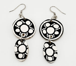 NEW! Black/White Flower Cane Earrings