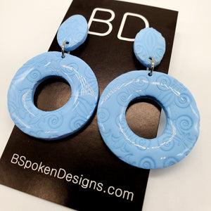 NEW! Dusty Blue Textured Earrings