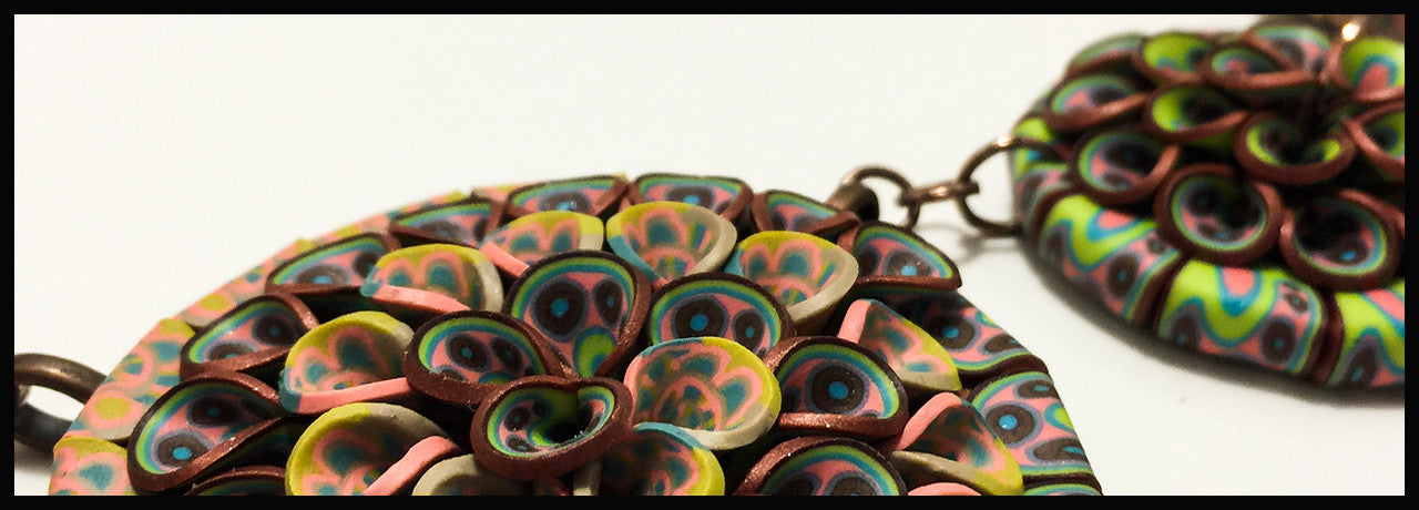 Handmade Polymer Clay Cane Jewelry Pendants