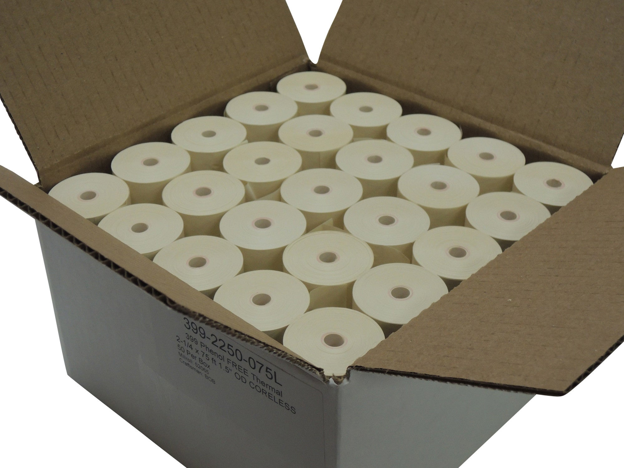 "Phenol Free Thermal Paper 2 1/4"" x 75 feet, 1.5"" / 38mm diameter, CORELESS, 50 rolls"