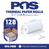 POS1 Thermal Paper 2 1/4 x 24 ft x 22mm diameter for Poynt Smart Terminal Receipt Printer CORELESS BPA Free 128 rolls