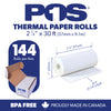 POS1 Thermal Paper 2 1/4 x 30 ft x 25mm CORELESS BPA Free fits Pidion BIP-1500 and Poynt 144 rolls