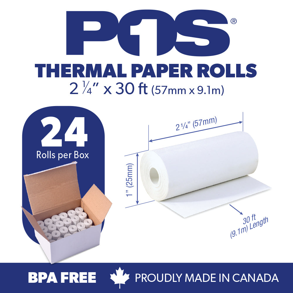 POS1 Thermal Paper 2 1/4 x 30 ft x 25mm CORELESS BPA Free fits Pidion BIP-1500 and Poynt 24 rolls