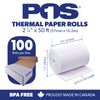 POS1 Thermal Paper 2 1/4 x 50 ft 30mm diameter CORELESS BPA Free 100 rolls