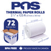 "POS1 Thermal Paper 2 1/4 x 125 ft 2"" / 50mm diameter CORELESS BPA Free 72 rolls"