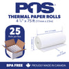POS1 Thermal Paper 4-3/8 x 75 ft 38mm diameter CORELESS BPA Free 25 rolls
