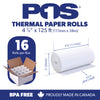 POS1 Thermal Paper 4-3/8 x 125 ft 50mm diameter, CORELESS, BPA Free 16 rolls