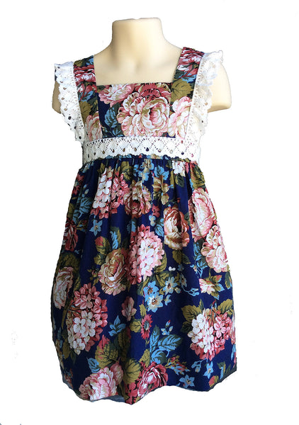 c960e72cc2d Navy Floral Sundress with Crocheted Lace Trim – Sassy Smock Shop