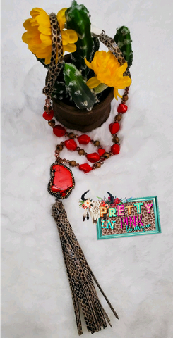 Red Snake Print Stone Necklace