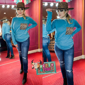 Pocket Full Of Leopard Top-Teal