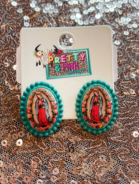 Virgin Mary Stud Earrings