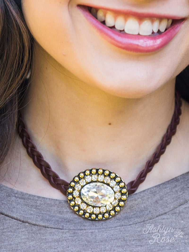 Leather & Bling Necklace