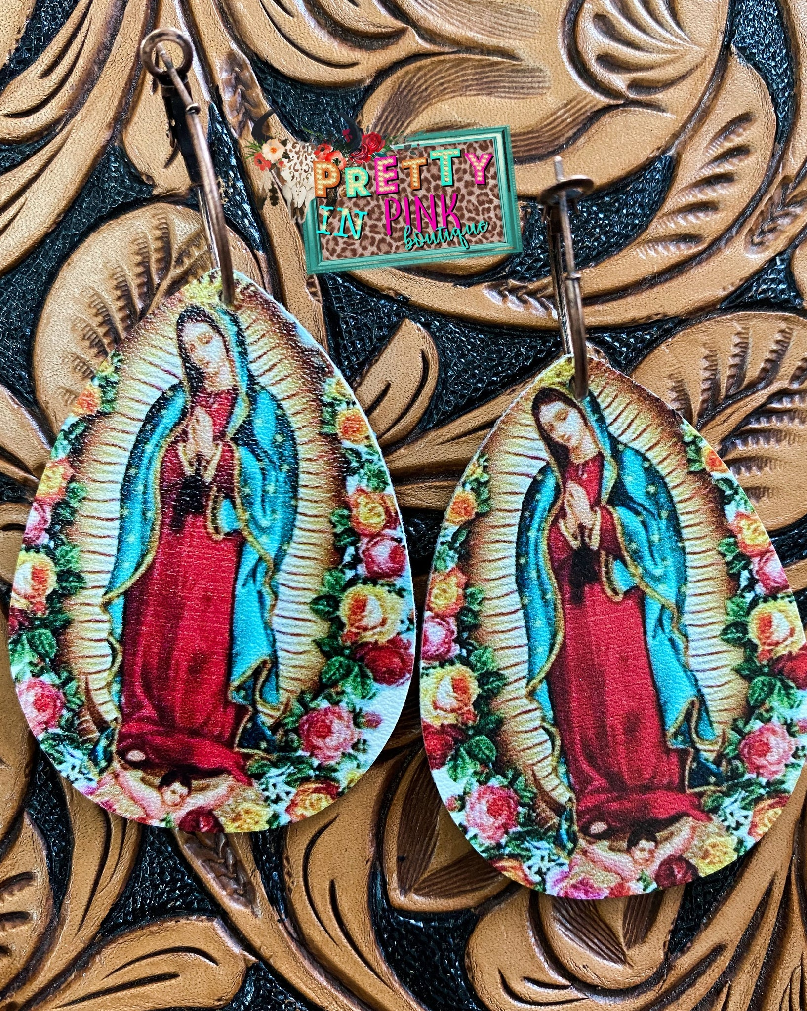 Virgin Mary Floral Earrings