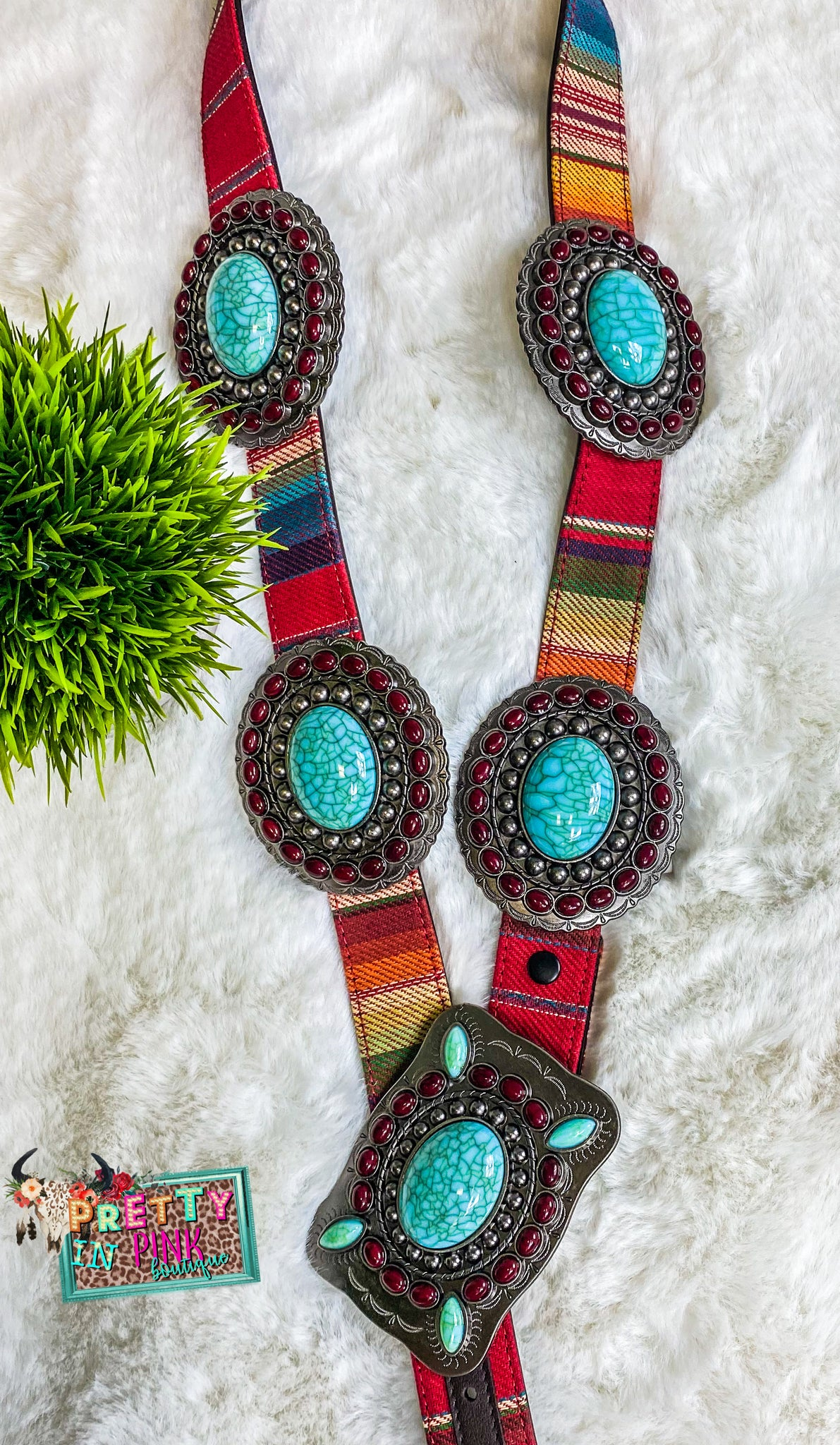 Serape Concho Buckle Belt