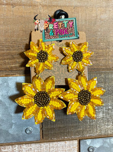 SeedBead Sunflower Earrings