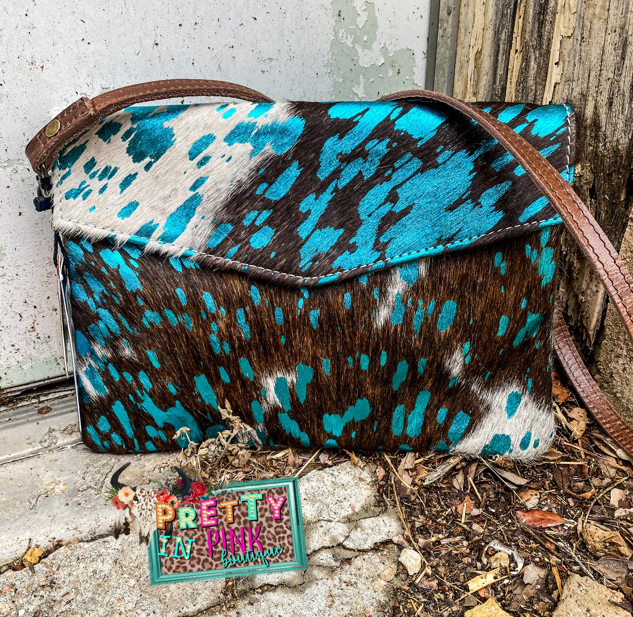 Turquoise Cow Hide Purse