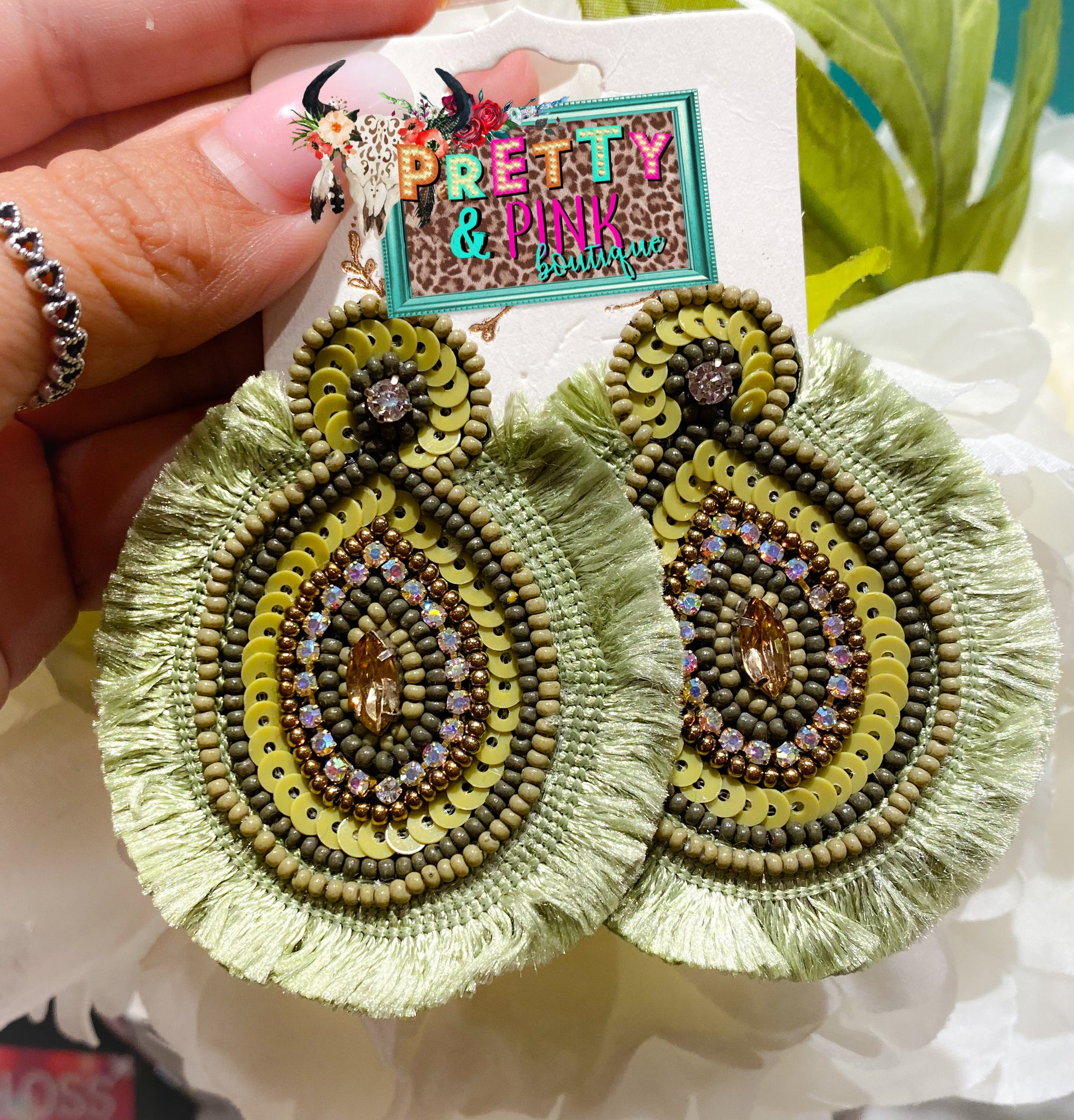 Embellished Olive Earrings