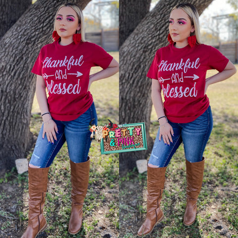 Thankful & Blessed Red Tee