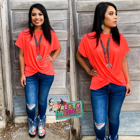 Blazing Coral Twisted Top