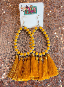 Mustard Tassel Stone Earrings