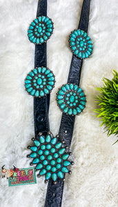 Turquoise Concho Tooled Belt