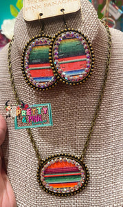 PP Serape Oval Sideways Necklace