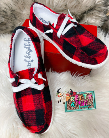 Boss Babe Sneakers - Buffalo Plaid