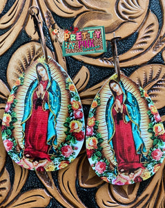 Floral Virgin Mary Earrings
