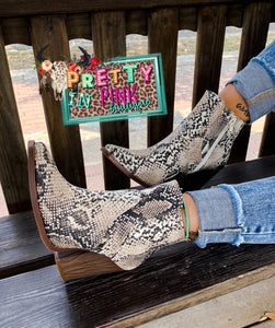 Show Stopper Booties (Snake Print)