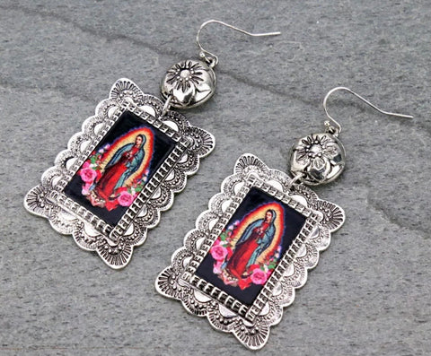 Virgin Mary Square Earrings