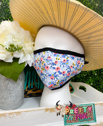 White Floral Mask