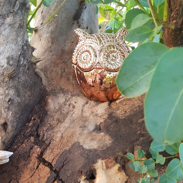 Large Copper Owl Candle