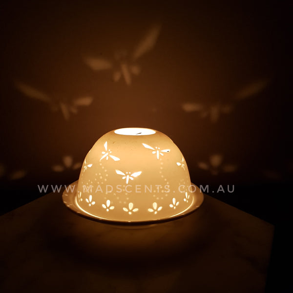 Dragonfly Porcelain Tealight Dome