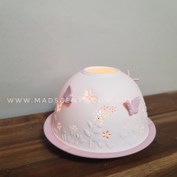 Baby Pink Butterfly Tealight Dome