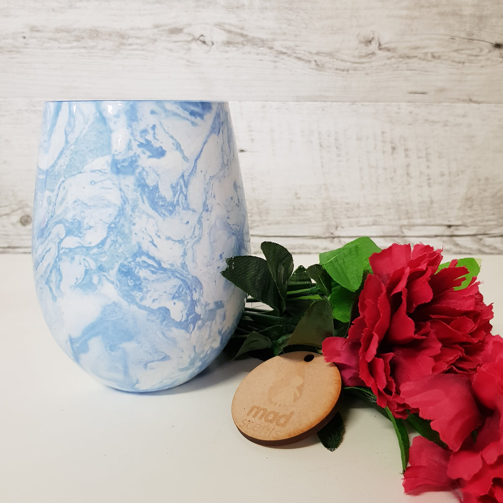 Sky Blue Marble Stemless Candle