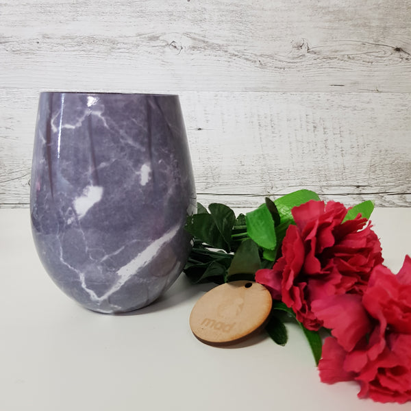 Wild Lemongrass - Black Marble Glass Stemless Candle