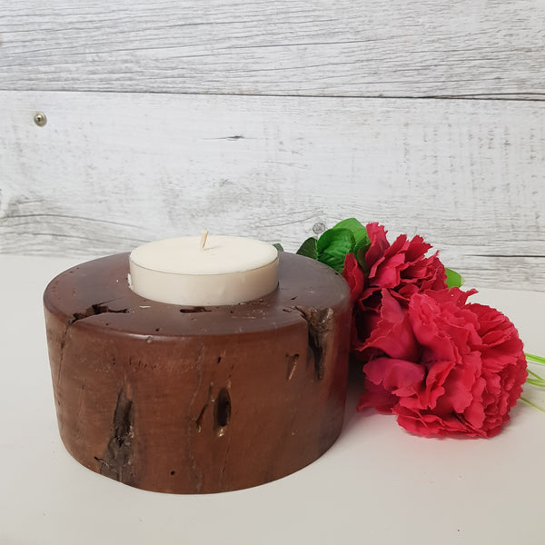 Raw Finish Timber Maxi Tealight Holder