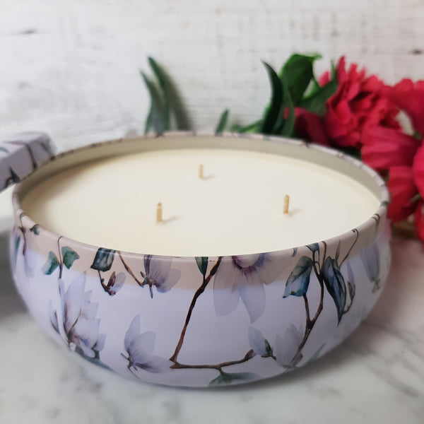 Sheer Lily White Rose - Triple Wick Soy Tin Candle