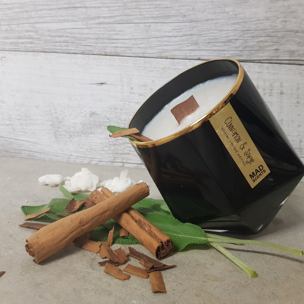 Cinnamon & Sage - Wood Wick Candle (Black)