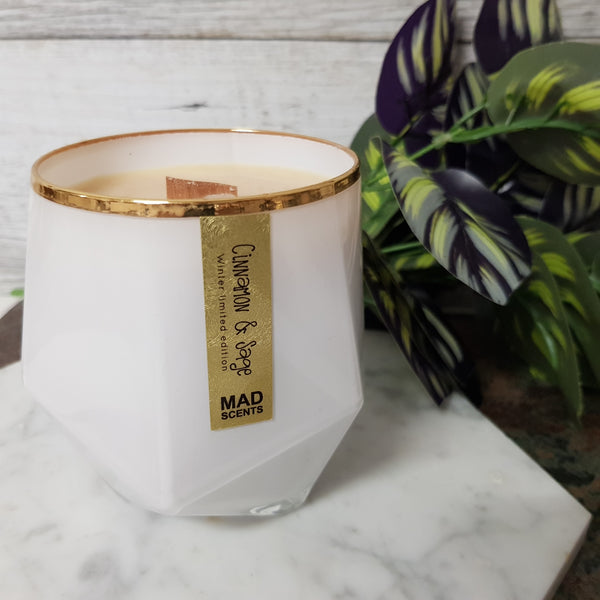 Cinnamon & Sage - Wood Wick Candle (White)