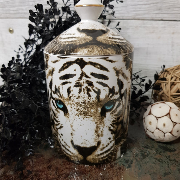 White Tiger Canister Candle (Made to order)