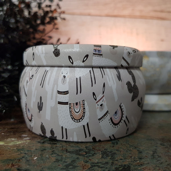 White Driftwood & Coconut Llamas - Multi Wick Tin Candle