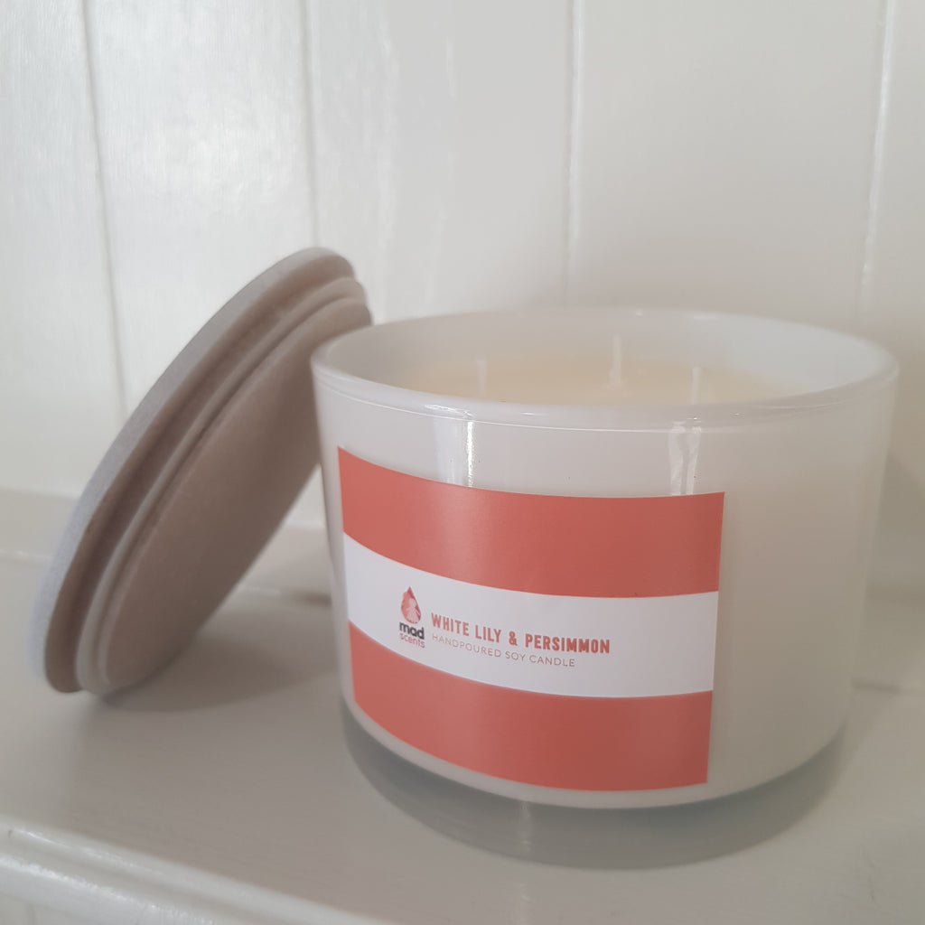 White Lily & Persimmon - Gloss White Triple Wick Candle
