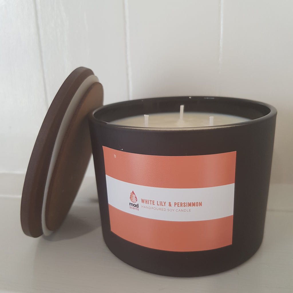 White Lily & Persimmon - Matte Black Triple Wick Candle