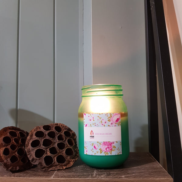Frosted Green - Mason Jar Wood Wick Candle