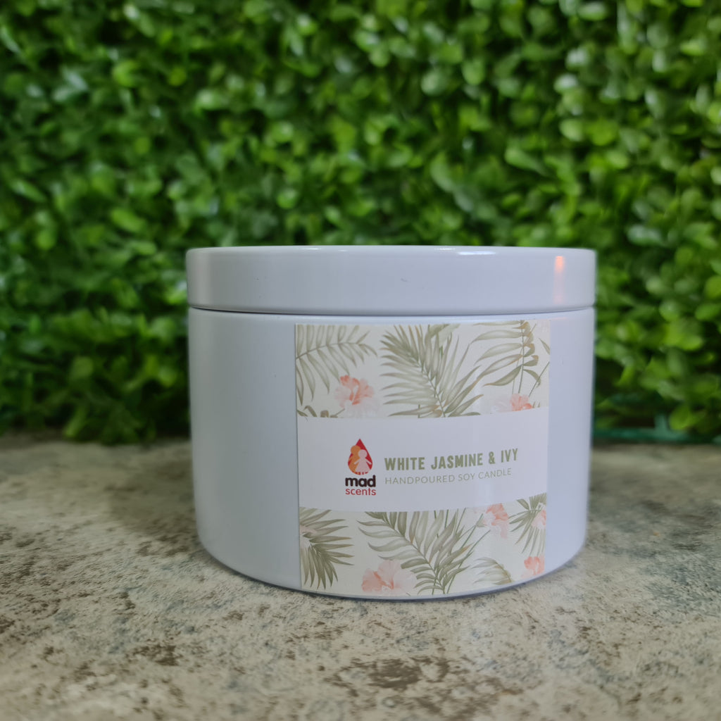 White Jasmine & Ivy - Large Tin Candle