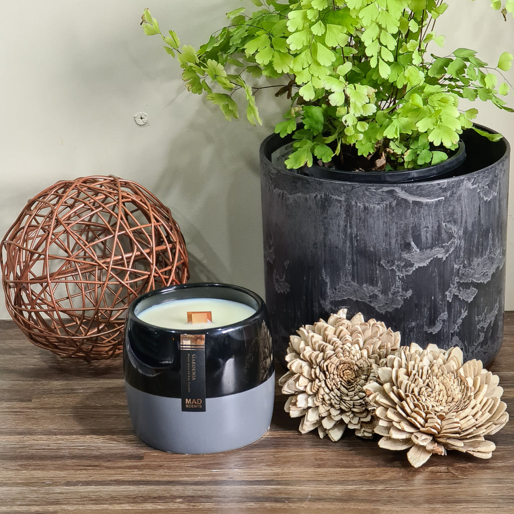Rose Geranium - Black / Grey Ceramic Pot Candle
