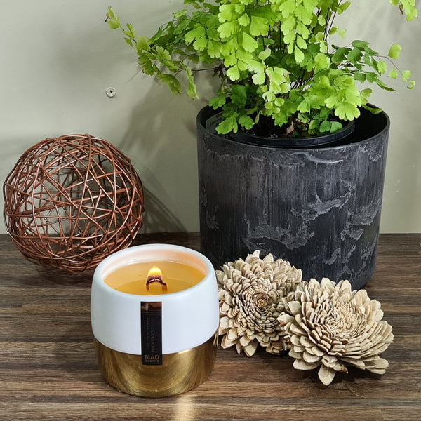 Australian Sandalwood - White / Gold Ceramic Pot Candle