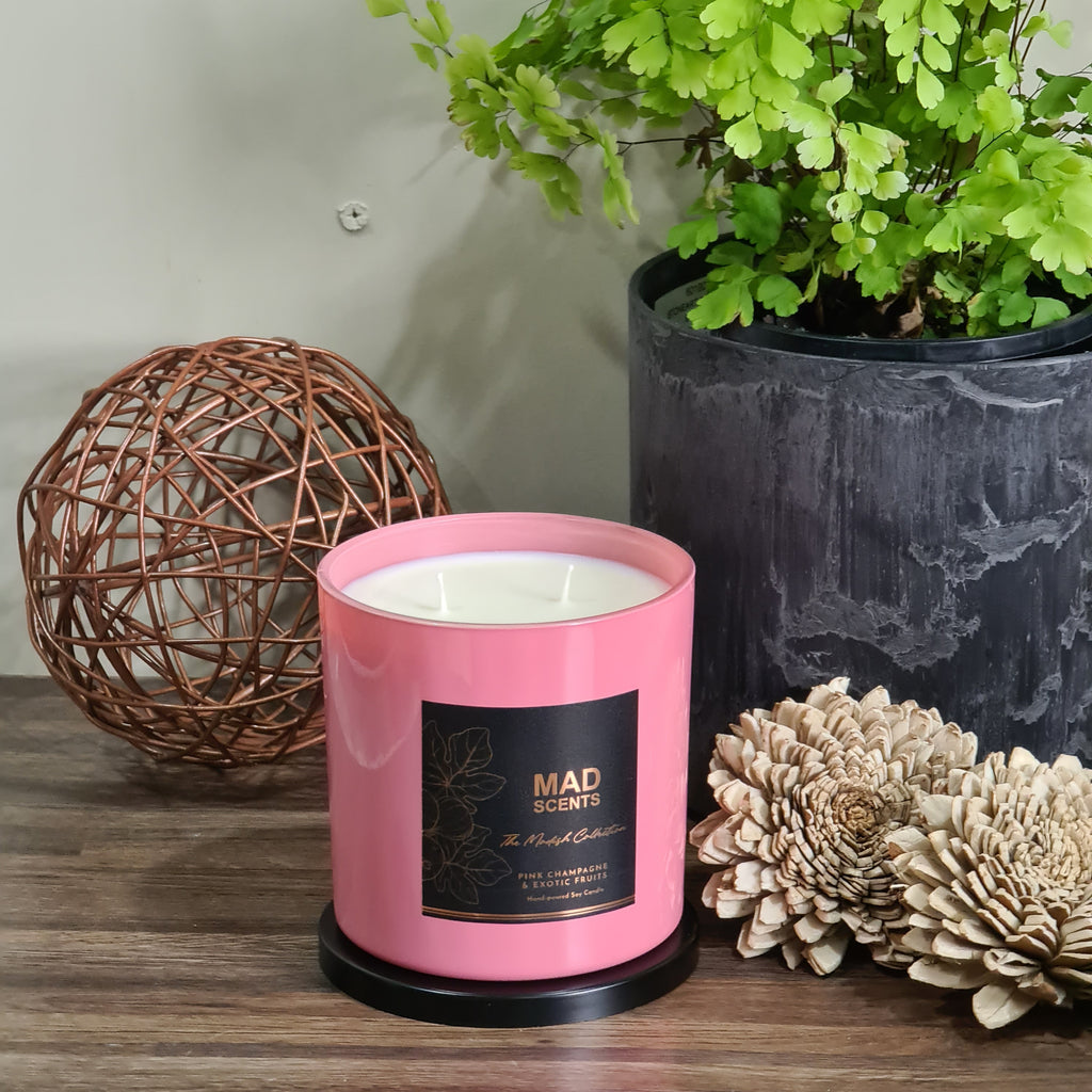 Pink Champagne & Exotic Fruits - Modish Large Pink Candle
