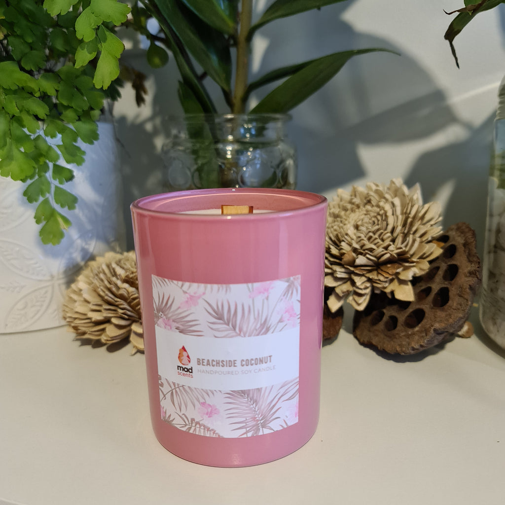 Beachside Coconut - Pink Wood Wick Candle
